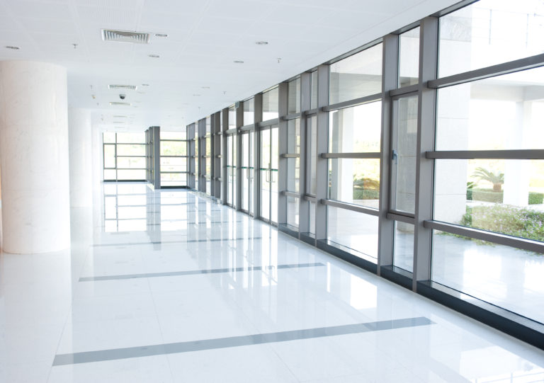 Bright office corridor.