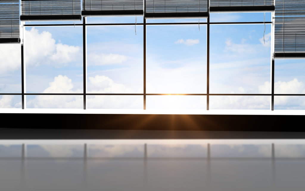 sunlight office and view sky in window