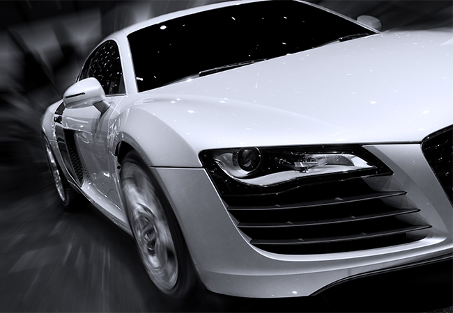 Close up of sports car front-end